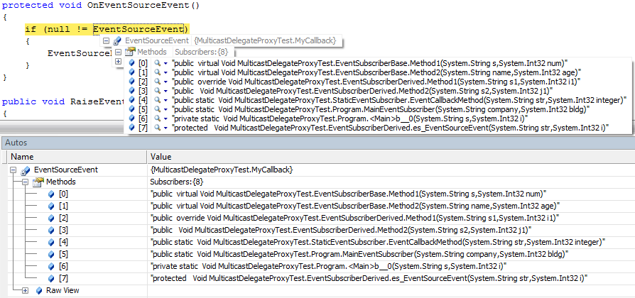 Event information in VS2005 with MulticastDelegateDebuggerProxy