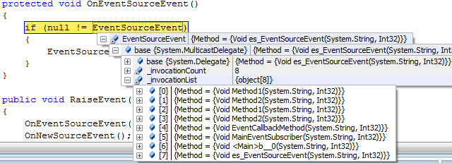 Default event information in VS2008